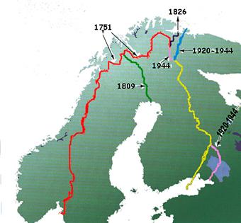 kart med grenser Samisk historie: Nettbasert læringsressurs   Grensetrekking: Kart kart med grenser